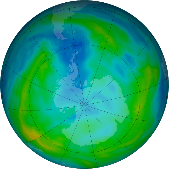 Antarctic ozone map for 29 May 1990