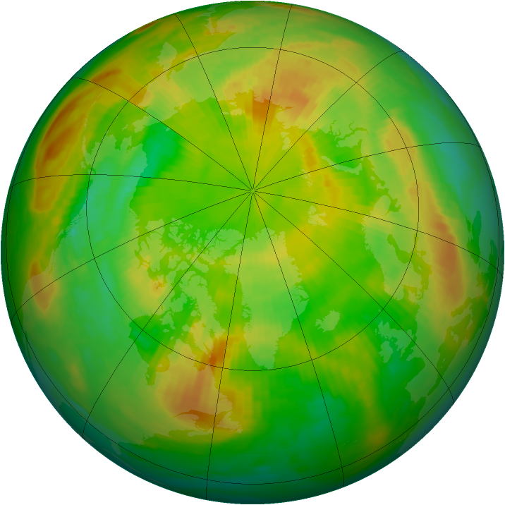 Arctic ozone map for 31 May 1990
