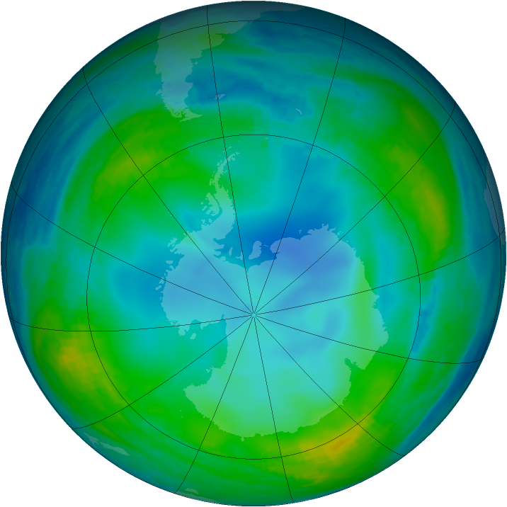 Antarctic ozone map for 31 May 1990