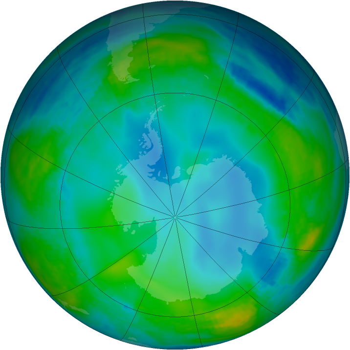 Antarctic ozone map for 07 June 1990