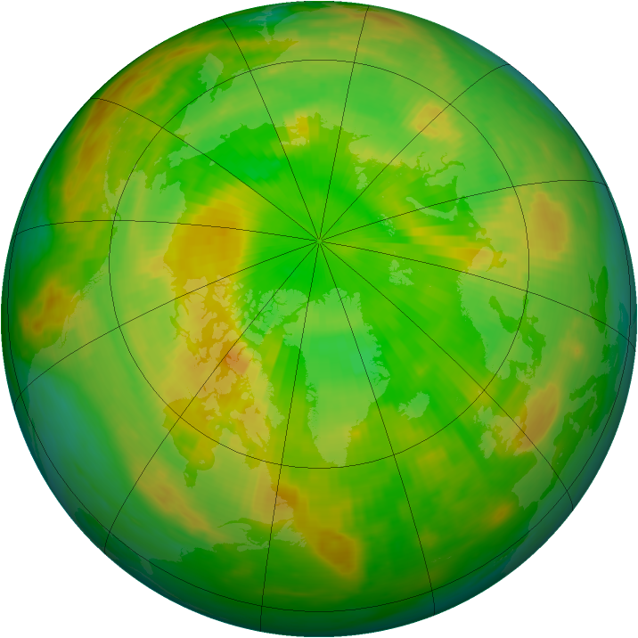 Arctic ozone map for 09 June 1990