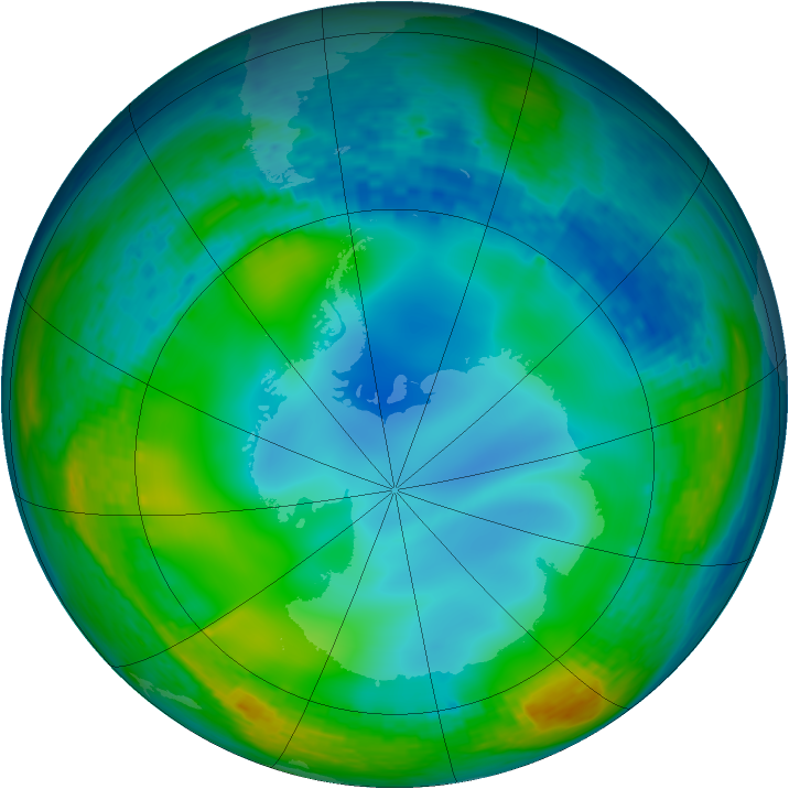 Antarctic ozone map for 17 June 1990