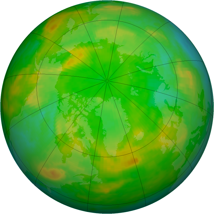 Arctic ozone map for 23 June 1990