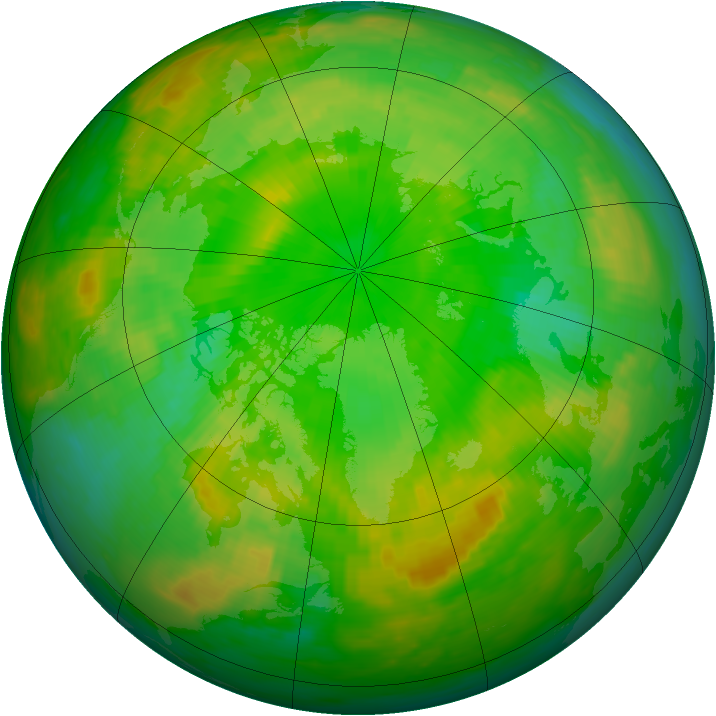 Arctic ozone map for 24 June 1990