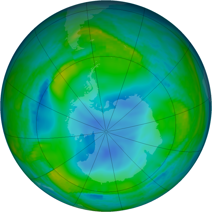Antarctic ozone map for 24 June 1990