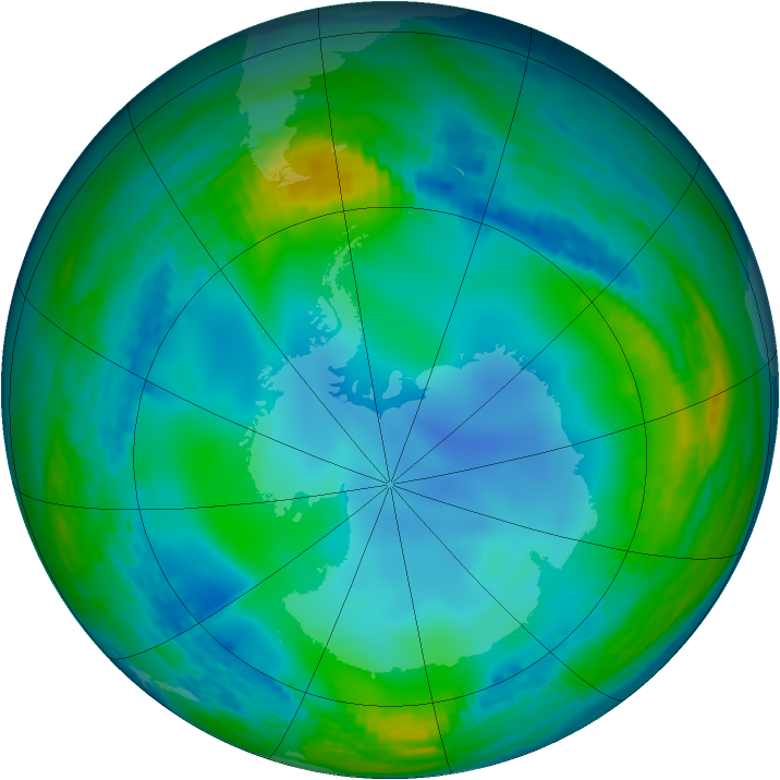 Antarctic ozone map for 26 June 1990