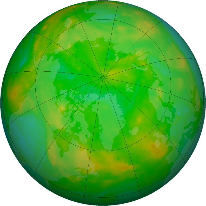 Arctic ozone map for 30 June 1990
