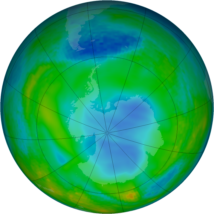 Antarctic ozone map for 30 June 1990