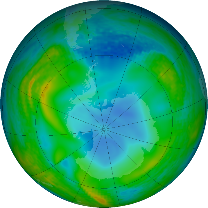 Antarctic ozone map for 01 July 1990