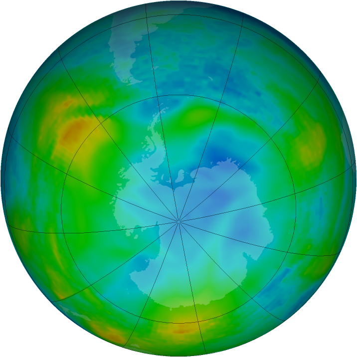 Antarctic ozone map for 03 July 1990
