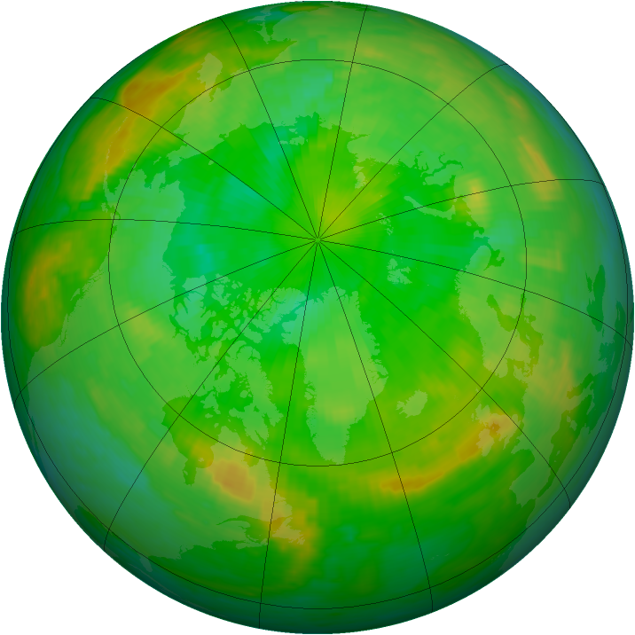 Arctic ozone map for 04 July 1990