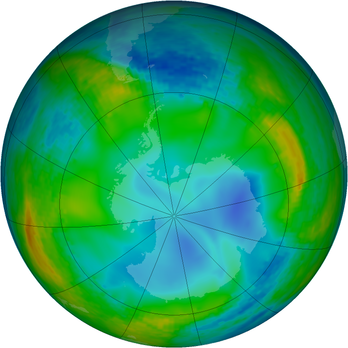 Antarctic ozone map for 05 July 1990