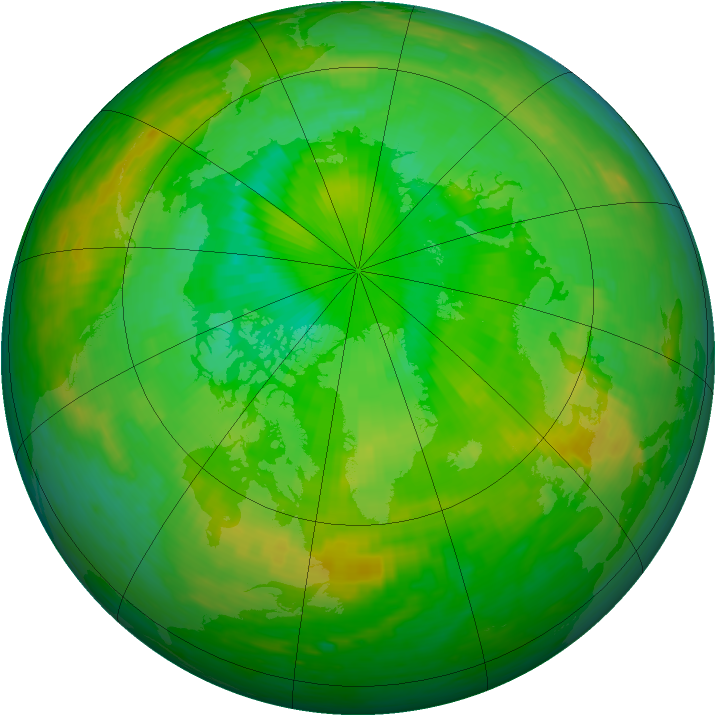 Arctic ozone map for 06 July 1990