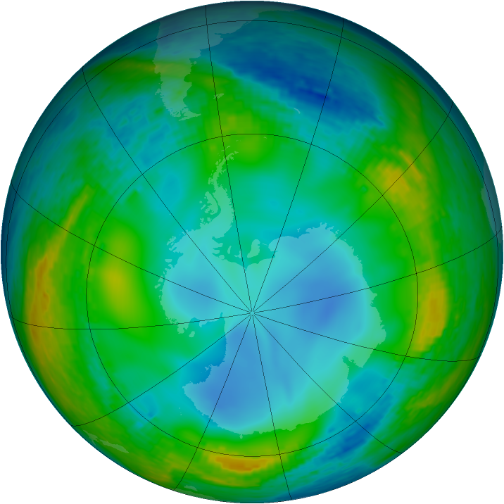Antarctic ozone map for 06 July 1990