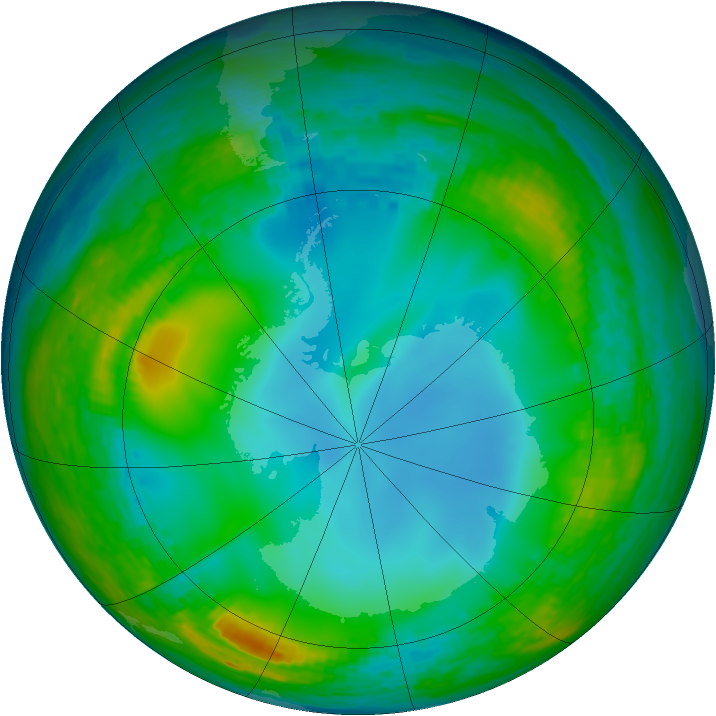 Antarctic ozone map for 08 July 1990