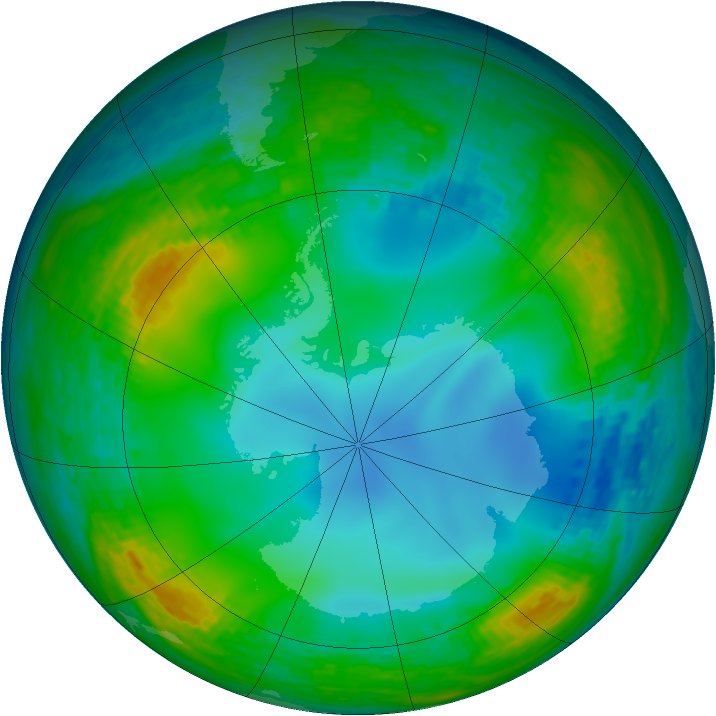 Antarctic ozone map for 10 July 1990