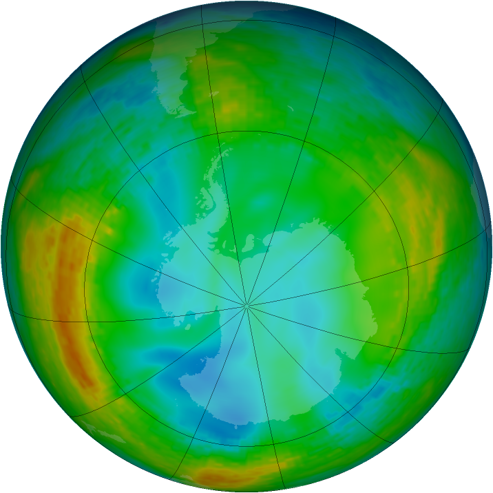 Antarctic ozone map for 18 July 1990