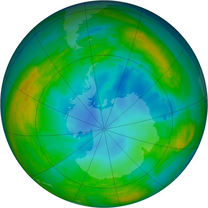 Antarctic ozone map for 22 July 1990