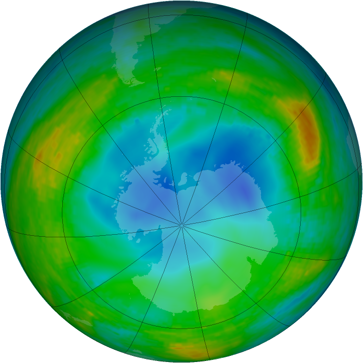 Antarctic ozone map for 23 July 1990