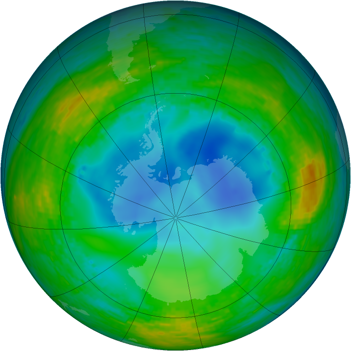 Antarctic ozone map for 24 July 1990