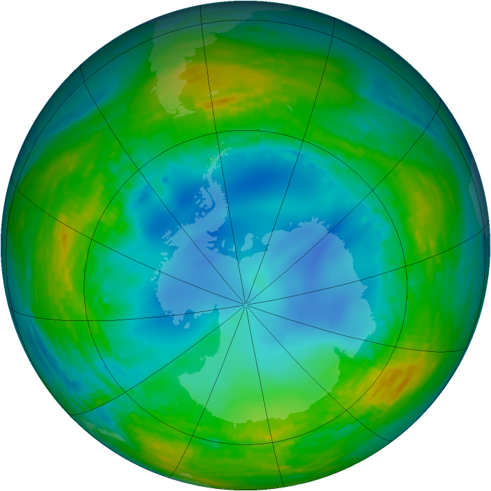 Antarctic ozone map for 26 July 1990