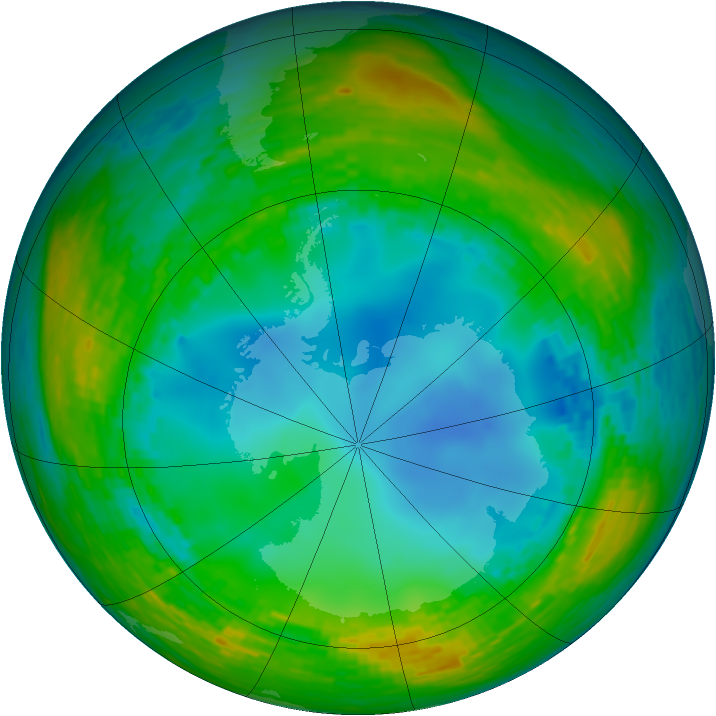 Antarctic ozone map for 28 July 1990