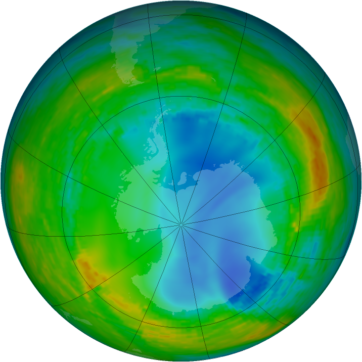 Antarctic ozone map for 31 July 1990