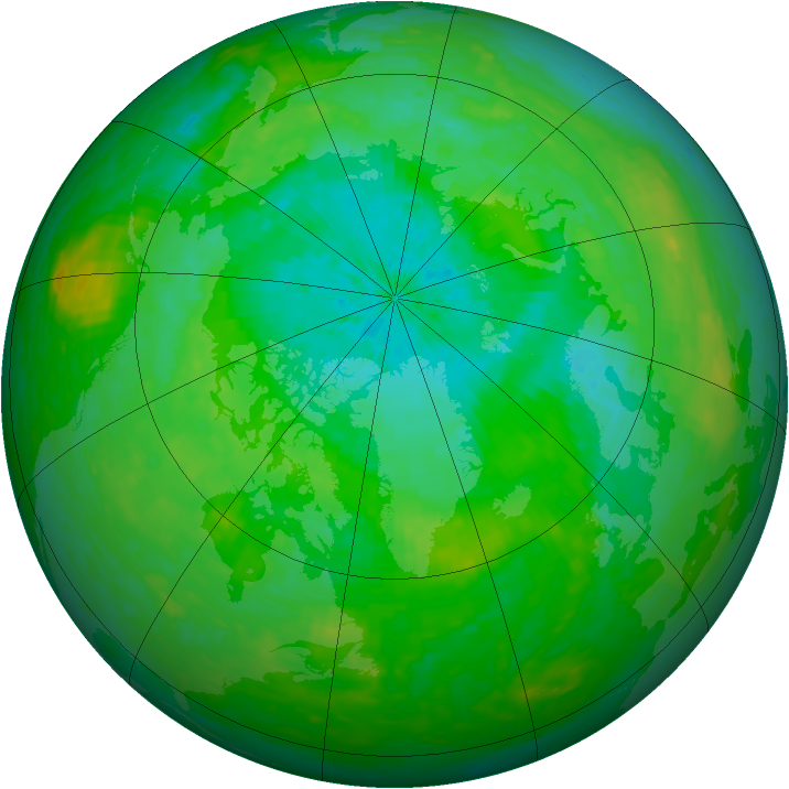 Arctic ozone map for 03 August 1990