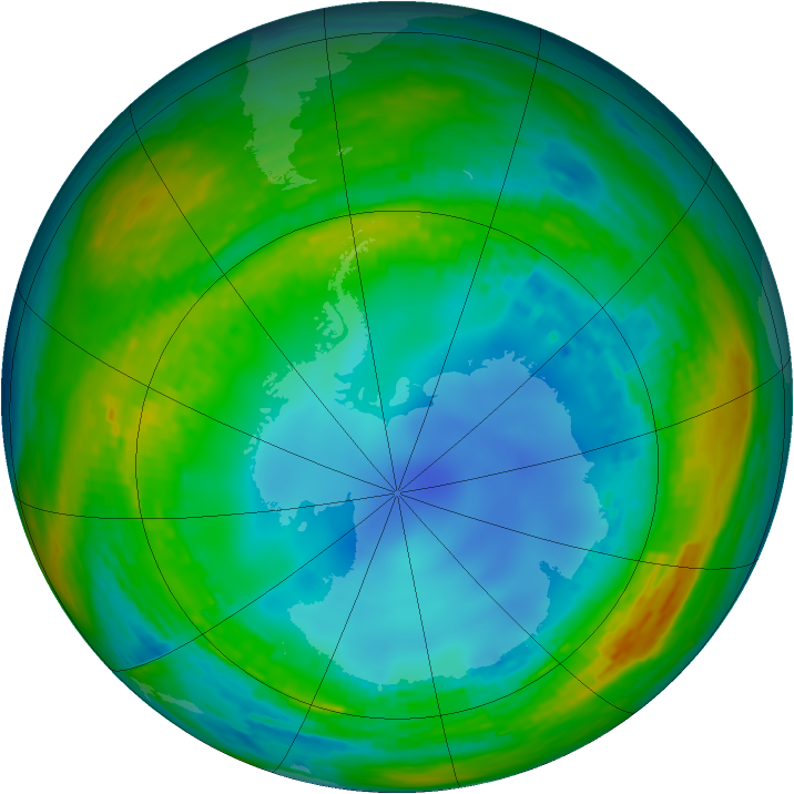 Antarctic ozone map for 03 August 1990
