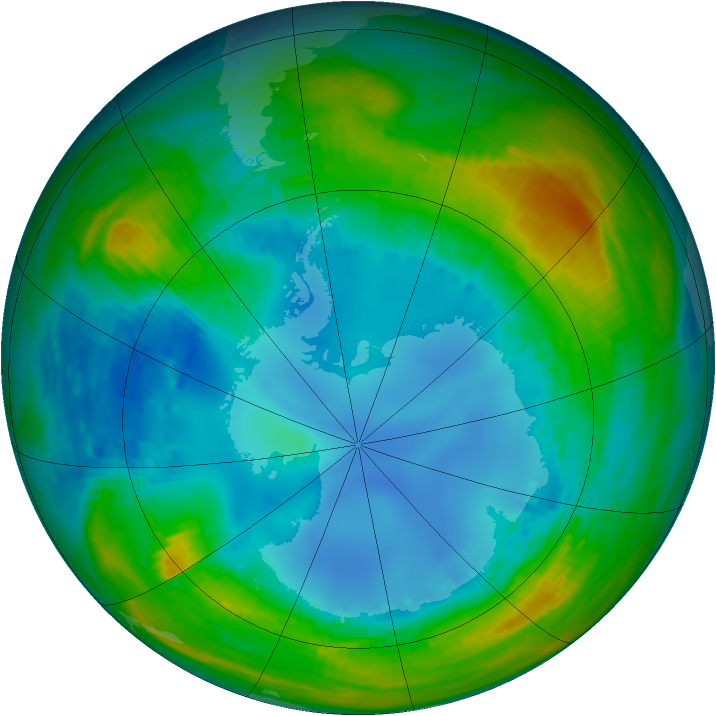 Antarctic ozone map for 08 August 1990