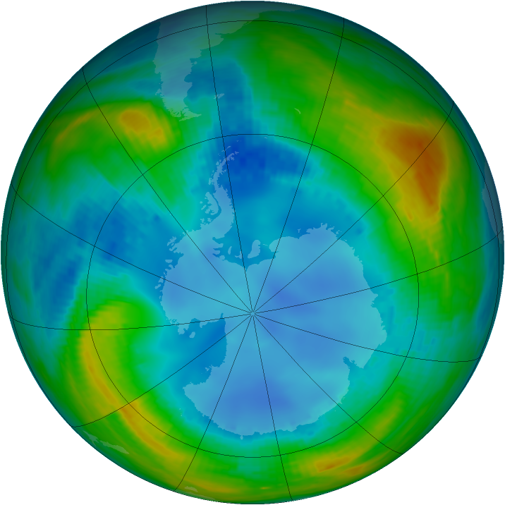 Antarctic ozone map for 09 August 1990