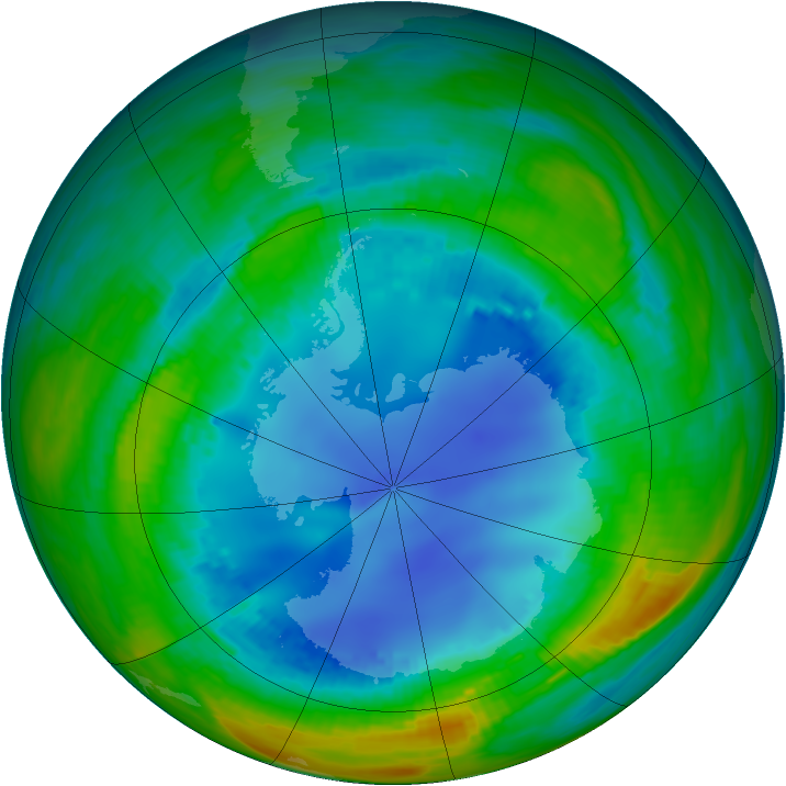 Antarctic ozone map for 13 August 1990