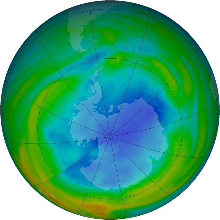 Antarctic ozone map for 14 August 1990