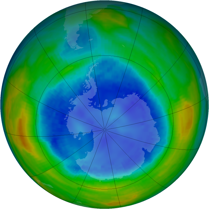 Antarctic ozone map for 28 August 1990
