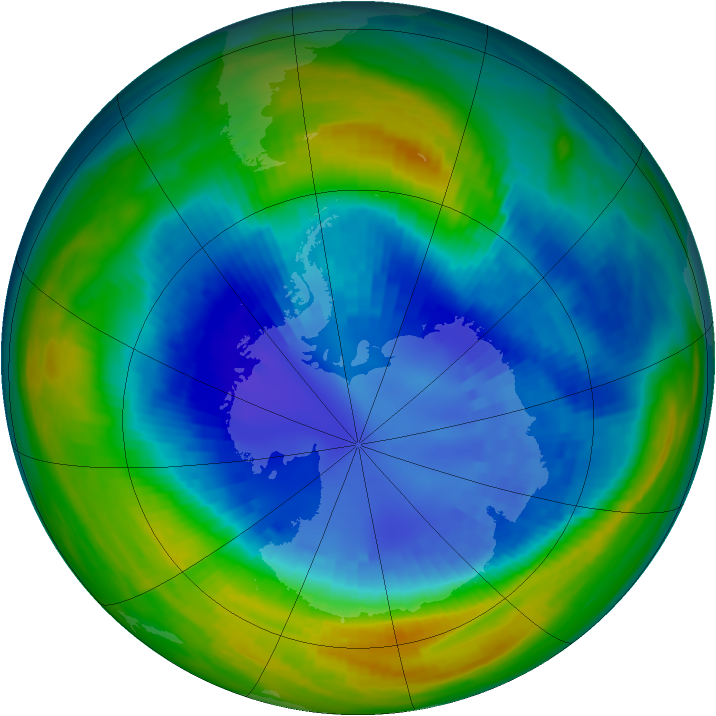 Antarctic ozone map for 31 August 1990