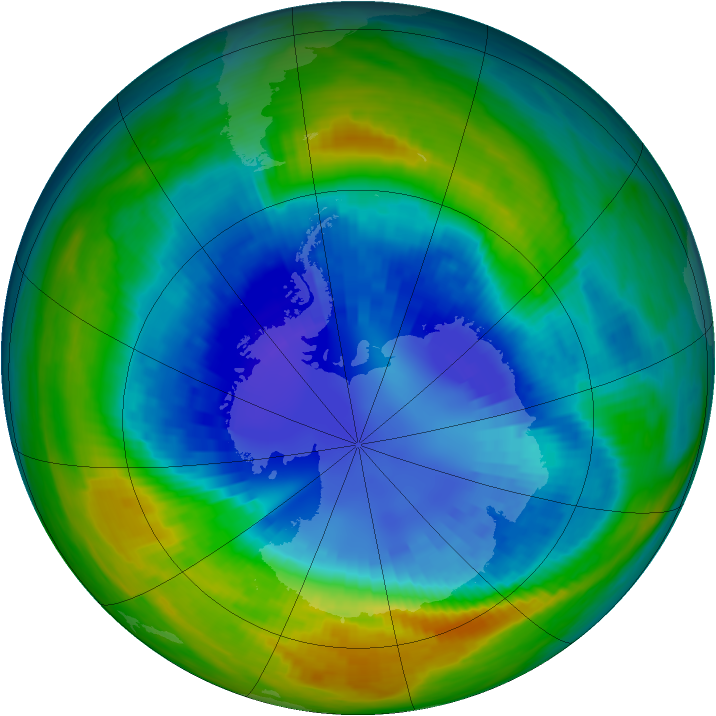 Antarctic ozone map for 01 September 1990