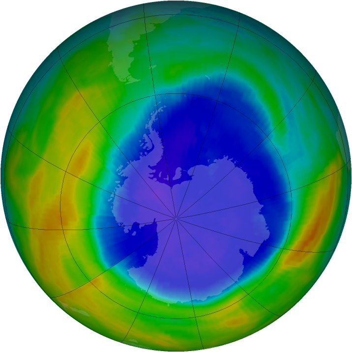 Antarctic ozone map for 18 September 1990
