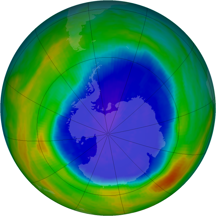 Antarctic ozone map for 19 September 1990
