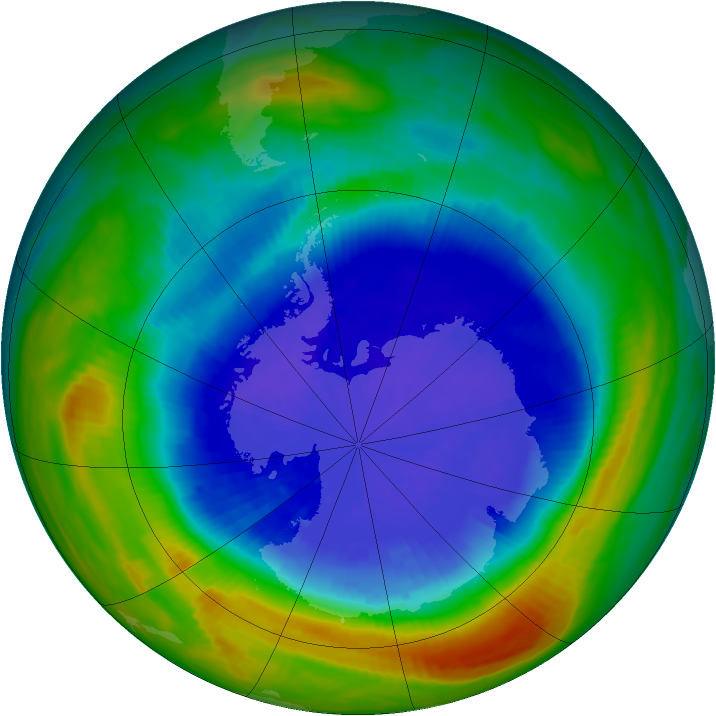 Antarctic ozone map for 22 September 1990