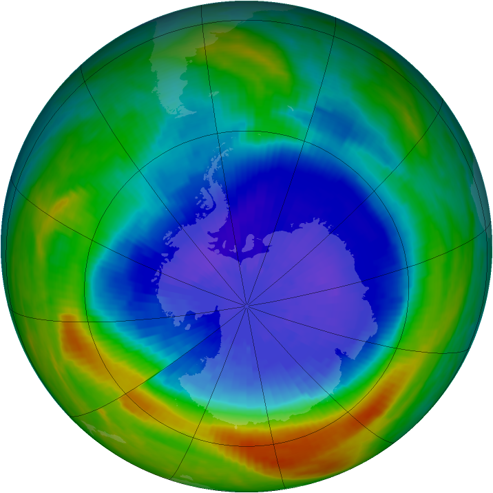 Antarctic ozone map for 23 September 1990