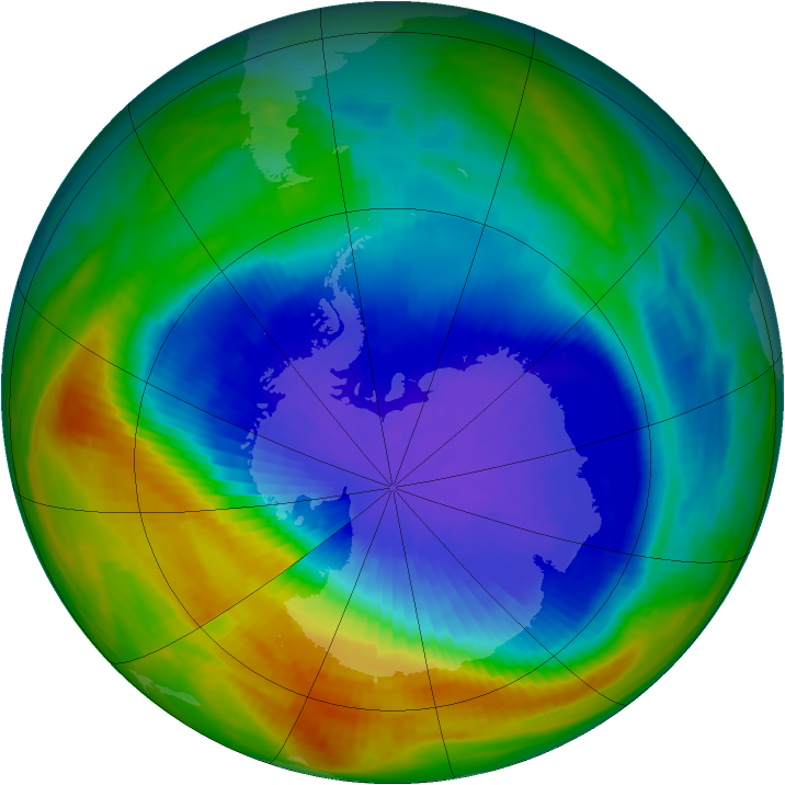 Antarctic ozone map for 26 September 1990
