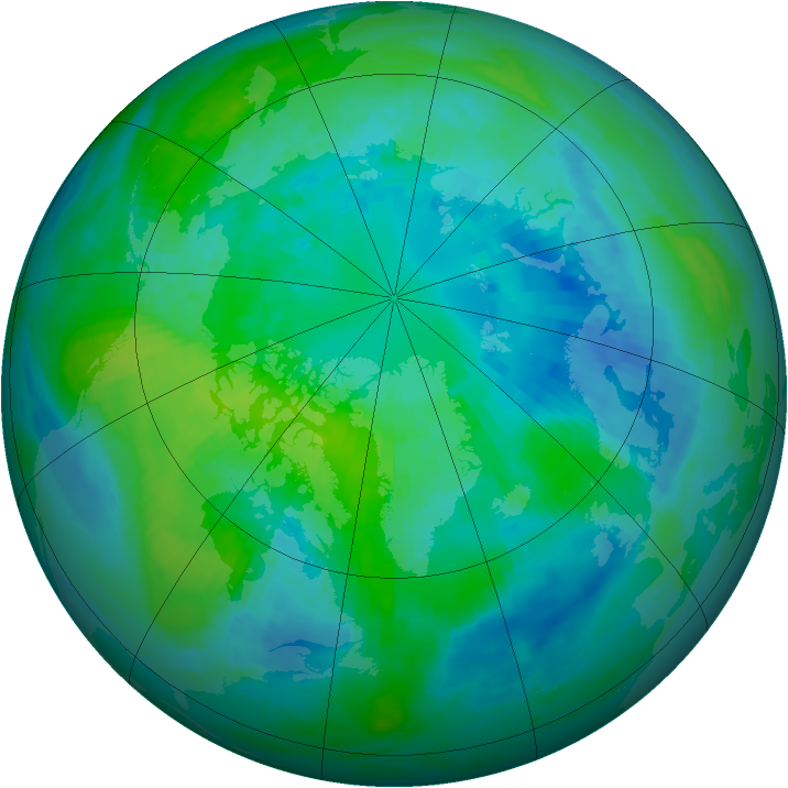 Arctic ozone map for 04 October 1990