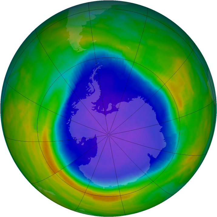 Antarctic ozone map for 04 October 1990