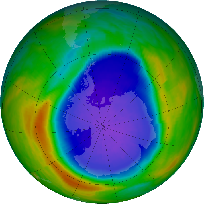 Antarctic ozone map for 05 October 1990
