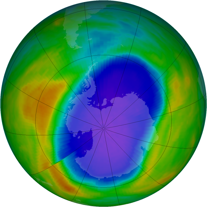 Antarctic ozone map for 06 October 1990