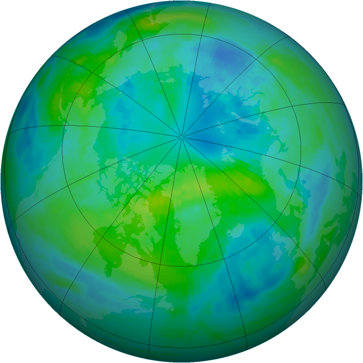 Arctic ozone map for 07 October 1990
