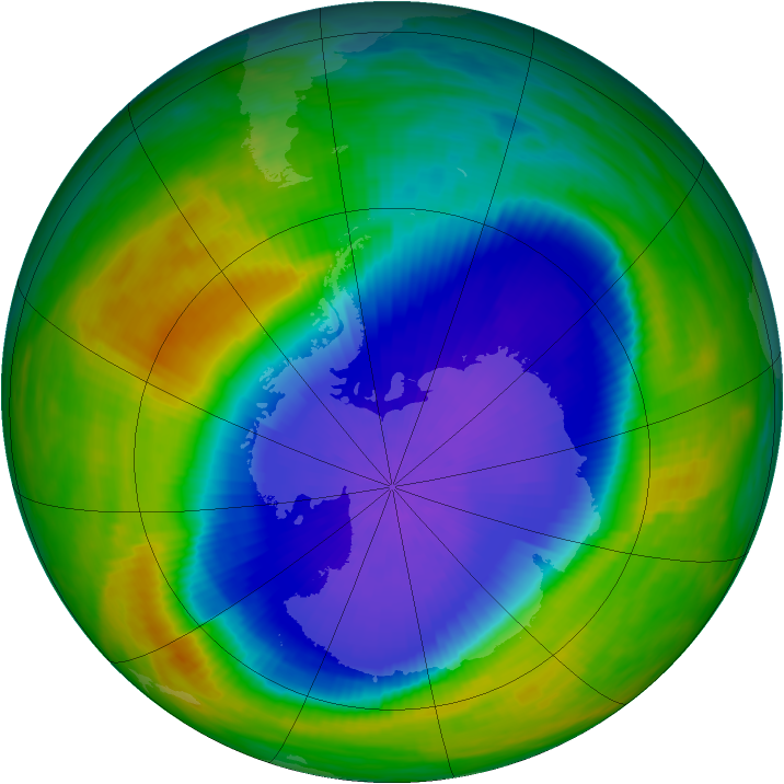 Antarctic ozone map for 07 October 1990