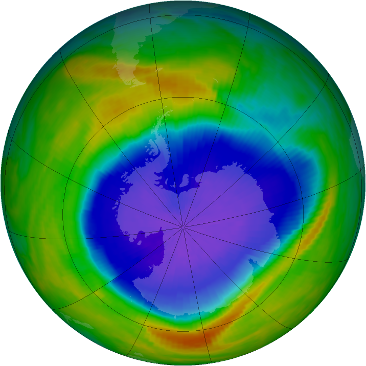 Antarctic ozone map for 09 October 1990