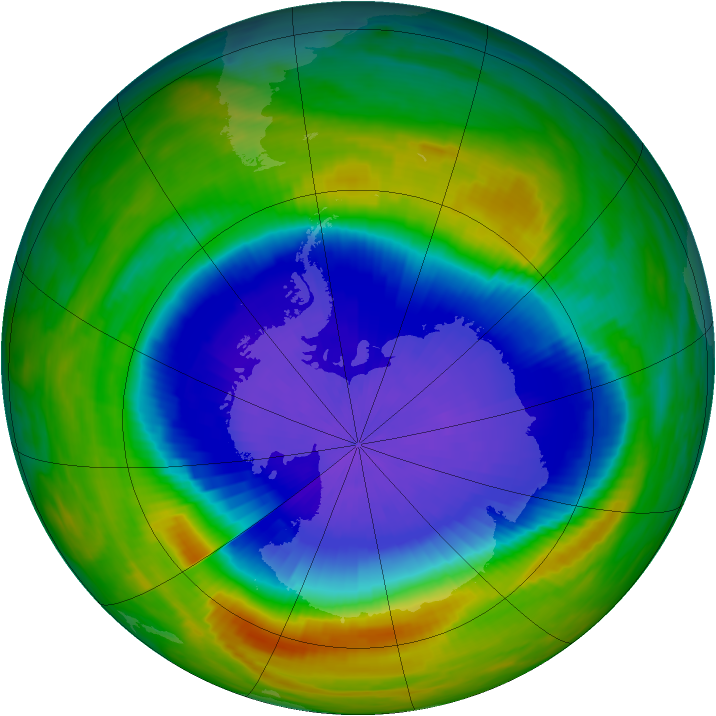 Antarctic ozone map for 10 October 1990