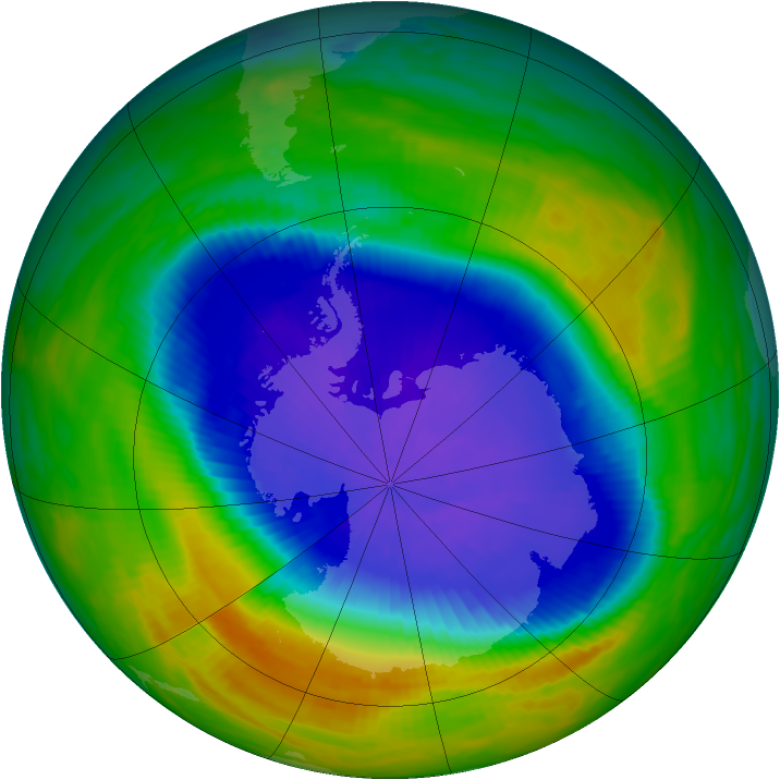 Antarctic ozone map for 11 October 1990
